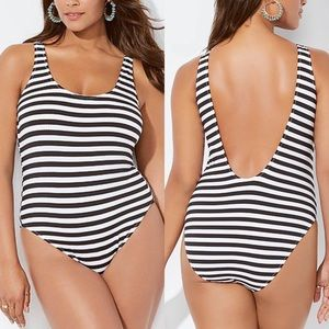 NWT Hotshot Striped Ribbed One Piece Swimsuit